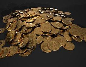 bitcoin tech - crypto currency - 3 piles - 1 3D asset 3