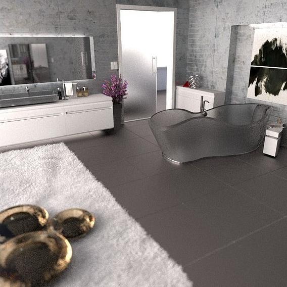 Interior Design - Bathroom w/ semi see through tub