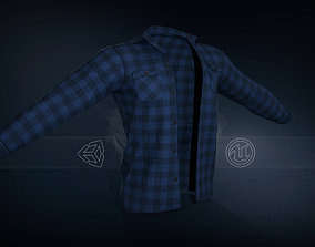 Blue Flannel Shirt 3D model game-ready