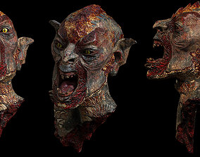 3D asset game-ready Beheaded Orc Head Gore