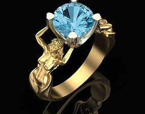 Womens ring with topaz 3D printable model