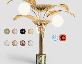 3D Refuge Floor Lamp with Multiple Leaves by Marc Ange