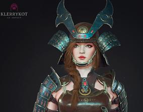 Samurai Girl 3D asset rigged