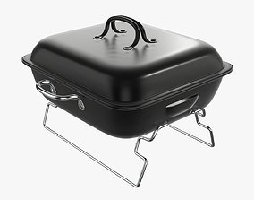 Charcoal portable steel grill bbq small with cap 3D model