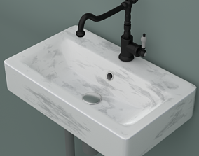 Marble sink with mixer faucet and pipes 3D