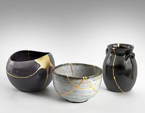 3D model gold Kintsugi Bowl and Vases