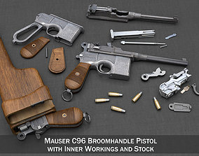 Mauser C96 Broomhandle with Stock revolver 3D model