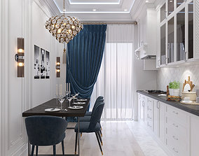 3D Neoclassical Kitchen Interior