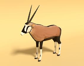 Low Poly Cartoon Gemsbok Oryx Gazella 3D asset