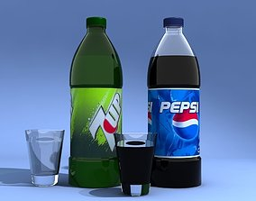 3D Pepsi And 7Up Bottles