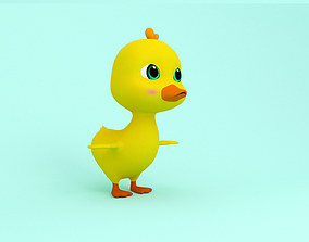 Baby Duck Cartoon 3D model