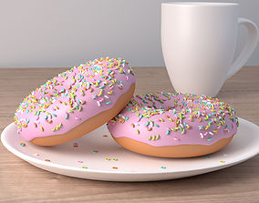 Morning Donuts And Coffee 3D model
