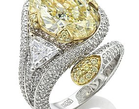 3D print model Fashion Ring with big yellow Stone and