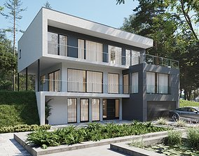 3D model low-poly suburban Modern house