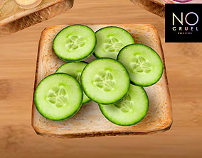 Toast with cucumbers mesh 3D asset