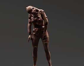 Infected Woman Zombie Character - Rigged - 3D model