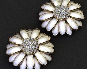 chamomile earrings 3D printable model silver