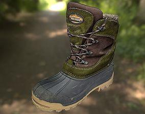 realtime Boot shoe 3D model low poly footwear