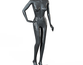 3D Female Black Mannequin In A Standing Pose 62