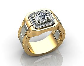 GOLD DIAMOND ROLEX RING 3D printable model