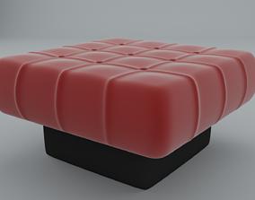 3D model VR / AR ready leather Ottoman