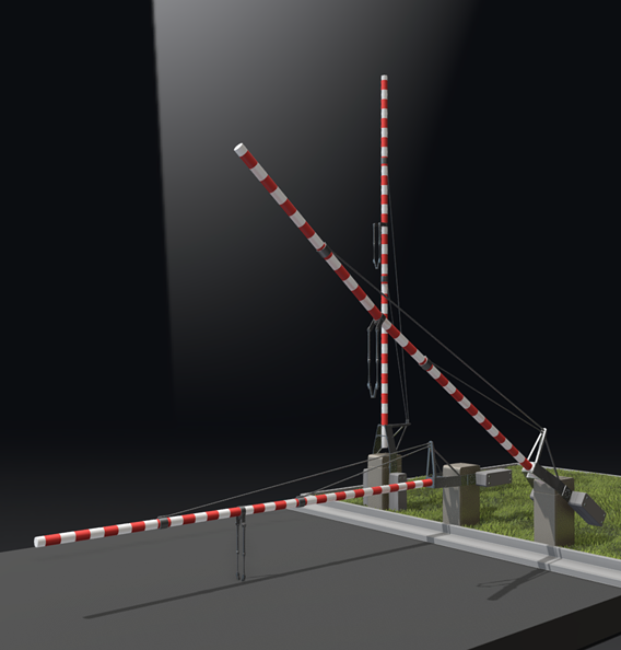 Railroad Barrier 7m High-Poly (Blender-2.91 Eevee)