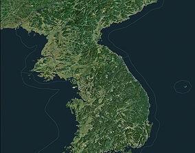 Korean Peninsula satellite map 3D