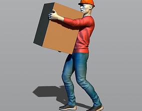 Builder carries a box 3D print model