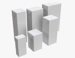 3D Tetra Pak juice cardboard box packagings