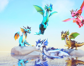3D asset Little Dragons Sea