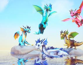 3D asset Little Dragons Sea