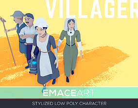 Male Female Villagers Characters Packs Stylized 3D model 1