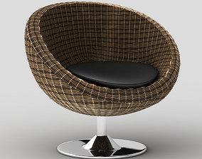 3D model Rattan papasan style swivel chair Oliana