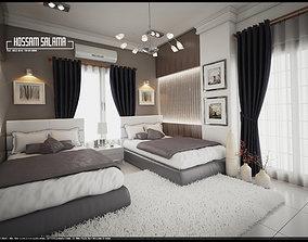 Modern bedroom scene 3D model 3D model Bed room