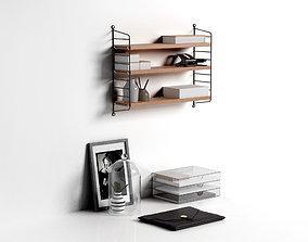 3D model Workspace String Pocket Shelf with Office