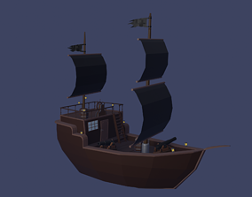 Pirate ship Low Poly 3D model rigged realtime