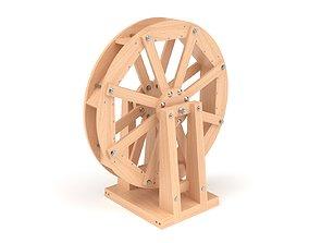 Wooden toy water mill wheel 3D model