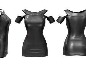 Shoulder Cutout Leather Mini Dress 3D asset