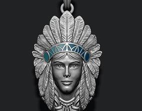 3D print model Native American Indian girl pendant