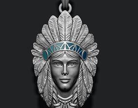 3D printable model Native American Indian girl pendant