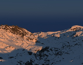 Snowy mountain with parametric snowiness material 3D