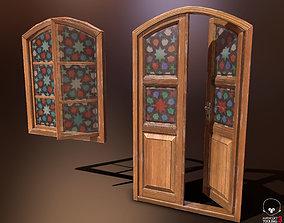 3D model Old Wooden Door and Window Low poly