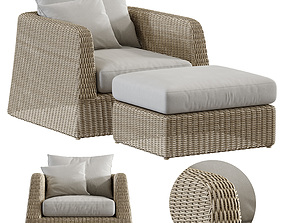 3D Zeya Rattan lounge Chair with Ottoman