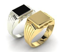 3D printable model signet ring for men Two options