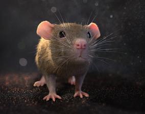 Brown rat with low poly fur 3D model