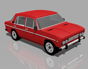 Vintage Premium Sedan cartoon car 3D model game-ready
