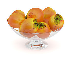 Persimmon Fruits in Glass Bowl 3D model