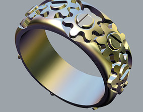 Ring with a working gearwheel 3D printable model
