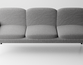3D model 3 seats linen sofa