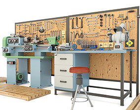 Industrial workbench garage tools and turning machine 3D